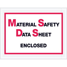 "6 <span class='fraction'>1/2</span> x 5"" ""Material Safety Data Sheet Enclosed"" Envelopes"