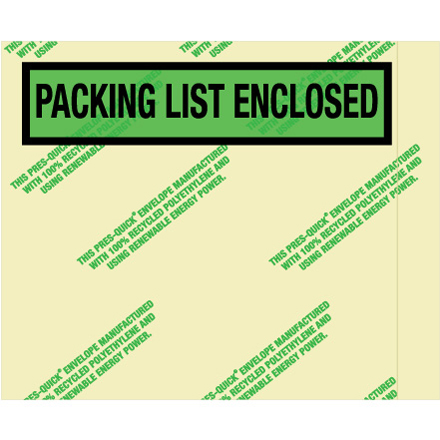 "4 <span class='fraction'>1/2</span> x 5 <span class='fraction'>1/2</span>"" Environmental ""Packing List Enclosed"" Envelopes"