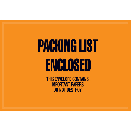 "4 <span class='fraction'>1/2</span> x 6"" - ""Packing List Enclosed"" Envelopes"