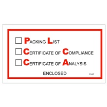 "5 <span class='fraction'>1/2</span> x 10"" ""Packing List/Cert of Compliance/Cert. of Analysis Enclosed"" Envelopes"